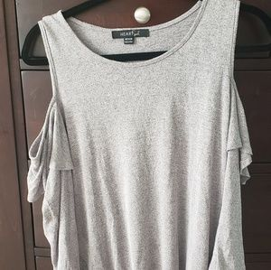 Gray/purple knit top